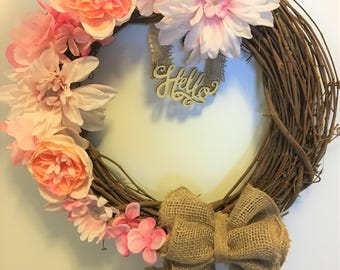 Summer Wreaths for Front Door, Spring Wreaths, Burlap Wreath, Grapevine Wreath, House Warming Gift, Burlap Wreaths, Hydrangeas