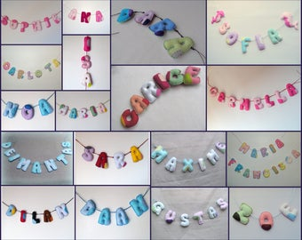 Custom Baby name banner, Nursery deco, personalized baby shower present