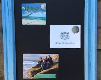 Beach Aqua Blue Vintage Framed Magnetic Chalkboard..Beach Wedding..Beach Decor