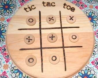 Wood burned tic tac toe game