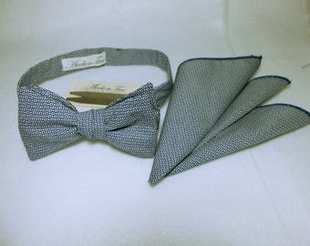 Fashionable Cotton Self Tied Necktie Bow Ties and Pocket Square FREE Collar Stay FREE SHIPPING