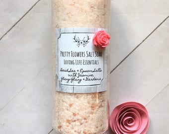 Pretty Flowers Salt Soak - Gifts for Her, Mother's Day, Birthday Gift, Shower Gift, Skin Care, Organic, Essential Oils