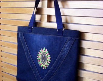 Denim Bag Embroidery Colorful ornament Shoulder Handbag women gift for Her recycled upcycled denim zipper pouch jean side bag