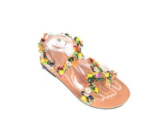 "Handmade Sandals ""Parrots' Bay""-Free Shipping"