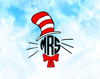 Cat In The Hat Svg, Dr. Seuss Svg, Dr Seuss Svg Files, Cat in the hat Cricut Files, Thing Silhouette Files