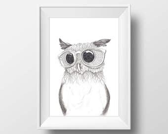 Owl Printable, Office Decor, The Nerdy Owl, Bird Wall Art, Home Decor, Black And White, Gift For Him, Print Art, Illustration, Gift For Her