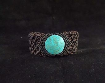 macrame bracelet with turquoise stone
