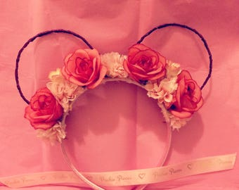 Mickey Mouse disney inspired floral ears crown