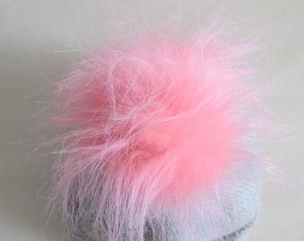 Pink Faux Fur Pom Pom, Faux Fur Pompom, Bag Charm