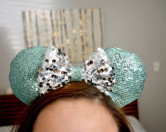 "Blue & Silver ""Pixie Dust"" Minnie Ears 