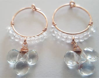 Rose Gold And Aquamarine Hoop Earrings, Real Aquamarine, Aquamarine Earrings, Rose Gold Earrings, March Birthstone, Gift For Her