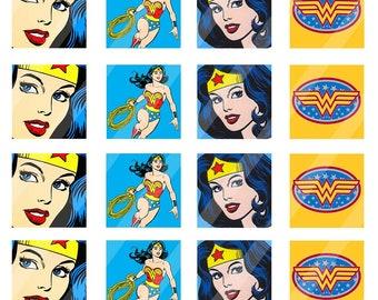 Wonder Woman scrabble tiles 0.75x0.83 inch sheet size 4x6 - Instant Download