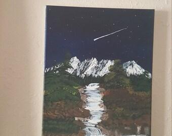 Shooting star over the pass original work