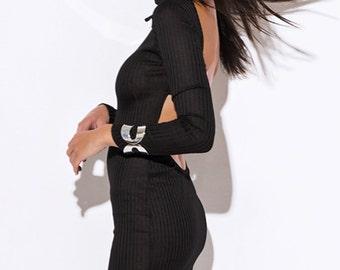 Womens black turtleneck ribbed backless long sleeve sweater mini dress