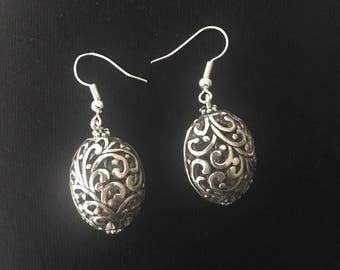 Silver plated fish hook earrings