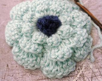 Seafoam Green Crochet Flower with Navy Blue Center Large