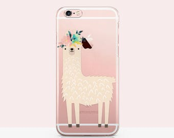 Rose Lama Print, iPhone 7 Case Llama [Clear Silicone Case] iPhone 6 Case Lama, iphone SE case Lama - Lama Drama iphone case 3