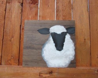 Primitive Country Sheep,Painted on hardwood cutoff,Stained wood plaque,Great gift for barn animal decor,Shelf decor, OOAK original painting