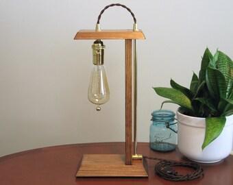 Wood Lamp – Edison Lamp – Brass Lamp – Desk Lamp – Table Lamp – Accent Lamp – Wood Edison Lamp – Edison Light – Rustic – Handcrafted Lamp