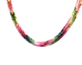 AA Quality MULTI TOURMALINE Faceted Beads 3-3.5 mm / 13.5 Inch