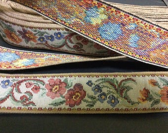 11 Yards of Vintage Woven Floral Ribbon Trim