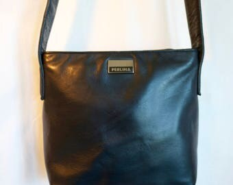 cross body bag by Perlina in soft dark navy blue glove leather. 1990s minimalism