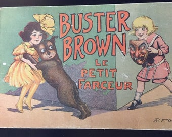 Vintage French Comic, Old Buster Brown Comic, Old Children's Book, Buster Brown Books, French Children's Comics, Collectible French Comics