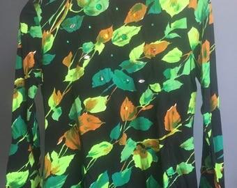Vintage, 1970, Floral, Long Sleeve Blouse, Medium, Rhinestones