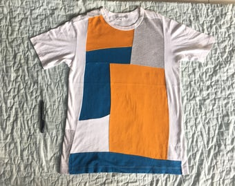 COMME des GARCONS Junya Watanabe Blue Orange Patchwork Shirt Top Homme Plus Play