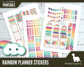 Rainbow printable planner stickers | instant download planner | EC vertical planner printables | digital weekly planner sticker download