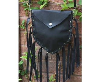 Black leather fringed bag handmade leather stud bag festival purse leather fringed medicine bag tassel boho hippie biker long fringe handbag
