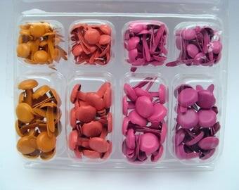 Orange  and pink Brads Set - Brads for Scrapbooking - Box with 140 brads