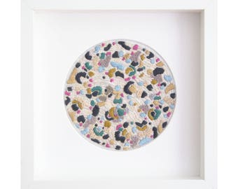 Abstract Embroidery Art by Katie Wells - 'Mustard'