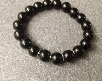 Black crystal beads with silverplated rings BRACELET