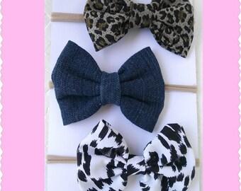 Seto of 3 bow nylon headbands