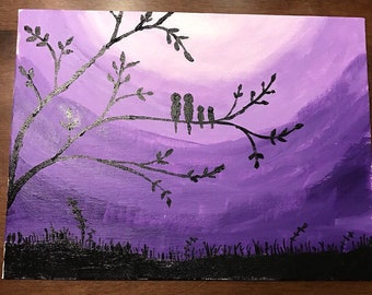 Birds on purple background
