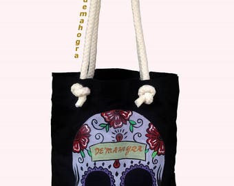 Cotton Canvas Tote Bag - Skull Acrylic Painted - An Original Painted - Handmade Tote Bag