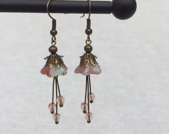 Czech glass fairy flower earrings - antique brass - 40x13mm - rasberry swirl