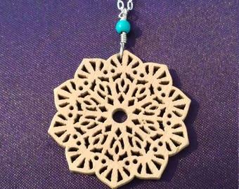 Wood flower pendant