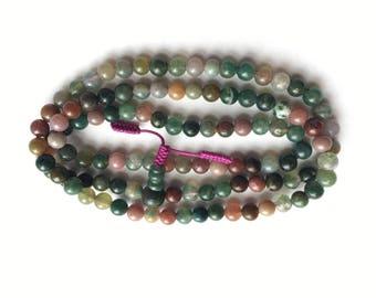 Multicoloured Natural Agate Mala 108 Prayer Beads