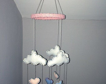 Baby nursery mobile felt hearts clouds baby girl