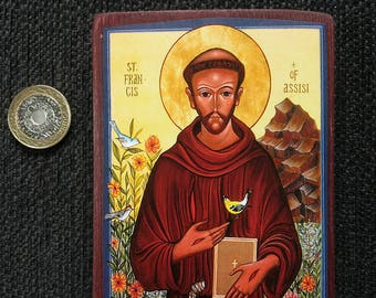Icon of St Francis of Assisi, hand-mounted on reclaimed wood.