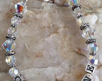 Swarovski Crystal and Sterling Silver Name Bracelet / Custom Made