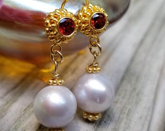 Lovely vermeil earrings with garnets and pearls