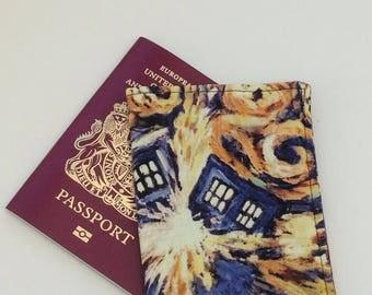 Doctor Who fabric passport cover.  The tardis fabric passport cover.