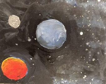 """Original Acrylic on Canvas Astronomy Painting Titled """"Trio"""" 5x7"""