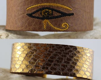 Tan Leather Bracelet / Gold Leather Bracelet – Tan Leather with custom Eye of Horus and Gold Reptile Print Leather - REVERSIBLE