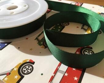 Grosgrain ribbon, dark green, 16mm wide, 5m length