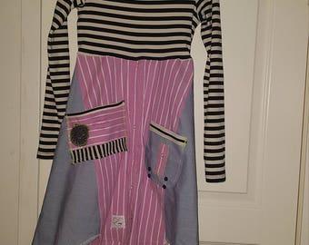 Upcycled recycled boho shirt snabbt chic Size M-L