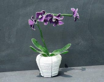 Beaded wire Orchid in pot - beaded wire sculpture